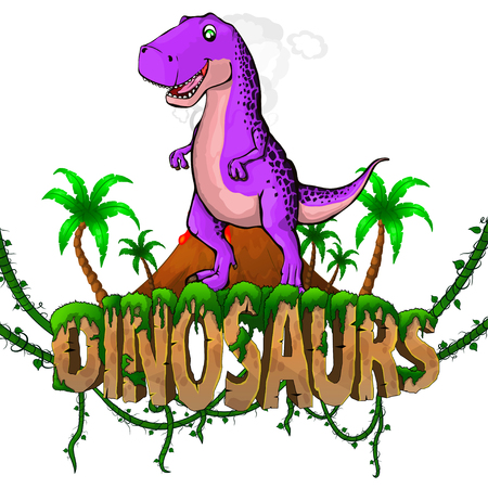 Logo  Dinosaurs World with Tyrannosaurus. Vector illustration.