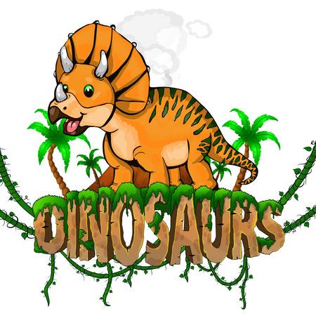 Logo mondo dei dinosauri con triceratopo. Illustrazione vettoriale.