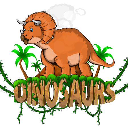 Logo  Dinosaurs World with Triceratops. Vector illustration. 일러스트