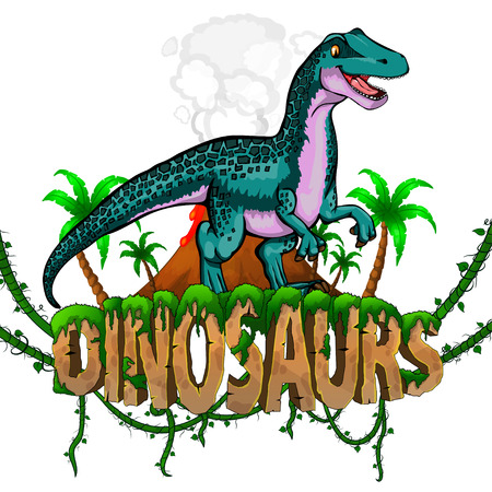 Logo  Dinosaurs World with Raptor. Vector illustration.