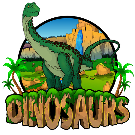 Logo  Dinosaurs World with Diplodocus. Vector illustration.