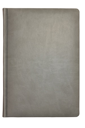 white leather texture: Grey leather covered book isolated over white background
