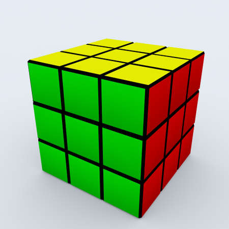 cubo: Cubo de Assenbled Rubik sobre fondo blanco