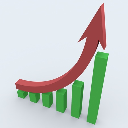 3d business statistics in white background showing rise in profits photo