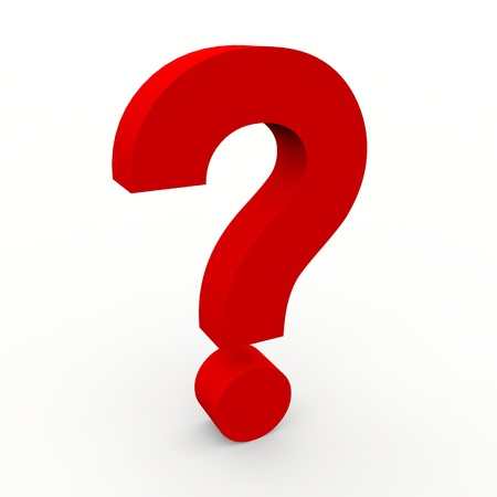 mark: Rojo 3d signo de pregunta sobre fondo blanco