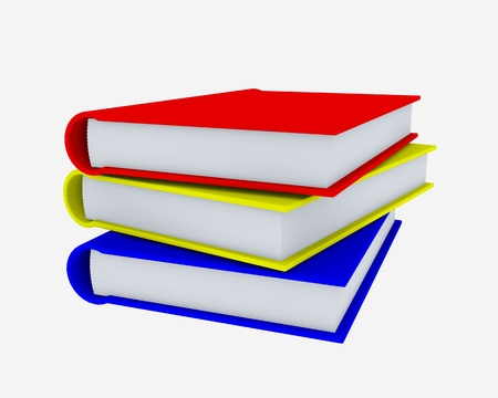Stack of coloured books on white surface. Rendered in 3D. Stock Photo - 9085173