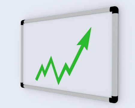 3D Business graph on white office presentation board photo