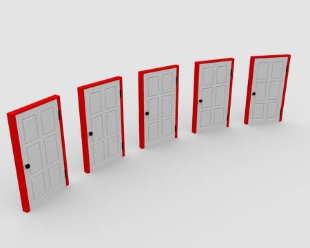 Five closed doors. Concept of choice. Stock Photo - 9085213