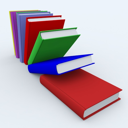 Colored books on white surface. 3D image. Stock Photo - 9085209