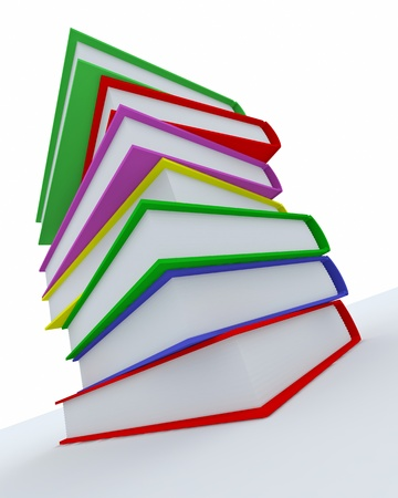 Stack of coloured books on white surface. Rendered in 3D. photo