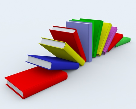 Colored books on white surface. 3D image. photo