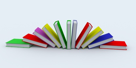 Colored books on white surface. 3D image. Stock Photo - 9085214