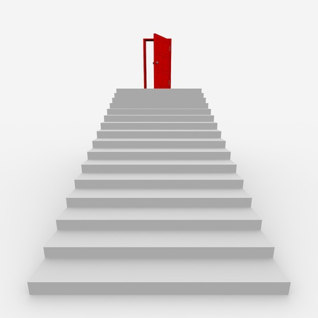 Stairway to the top.  3D image. Stock Photo - 9085199