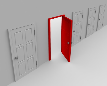 One open door and four closed. 3d image. Stock Photo - 9085207