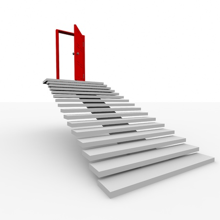 Stairway to the top.  3D image. Stock Photo - 9085203