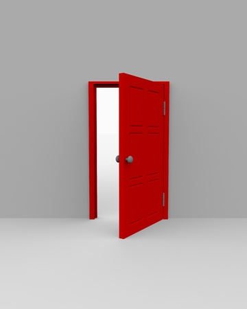 Half-open door. 3D render image. Stock Photo - 9085202
