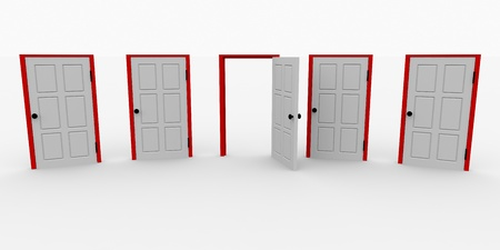 One open door and four closed. 3d image. Stock Photo - 9085206