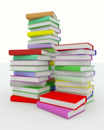 Stacks of coloured books on white surface. Rendered in 3D. photo