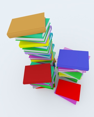 Stacks of coloured books on white surface. Rendered in 3D. Stock Photo - 9085216