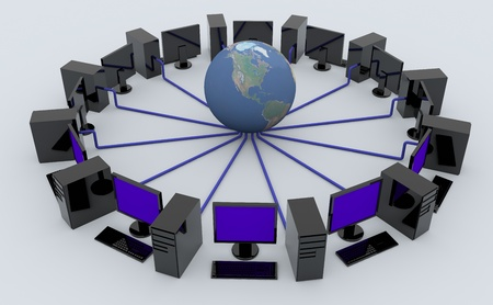 personal computers: Personal computers around the Earth. Concept of global network.