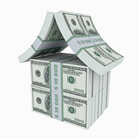 home prices: House made from dollars. 3D image