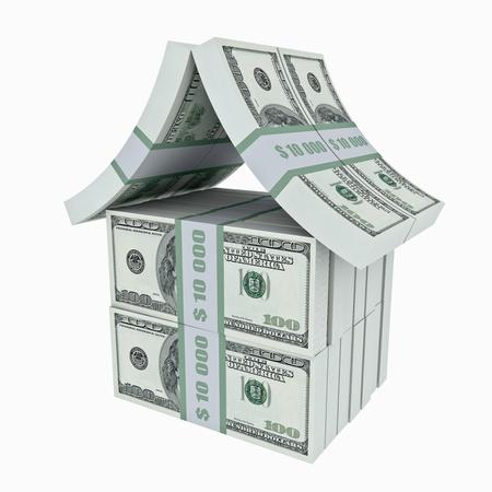 �quit�: Maison faite de dollars. Image 3D