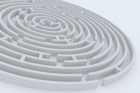 Round maze on white surface photo