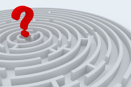 Round maze with 3d question sign in center photo