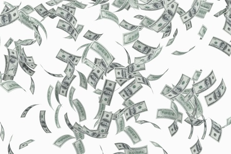 Flying american 100 dollar bills on white background