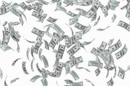money flying: Vuelo estadounidense billetes de 100 dólares en fondo blanco