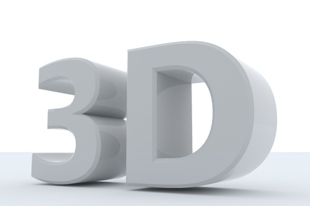 stereoscope: White glossy 3d word 3D made
