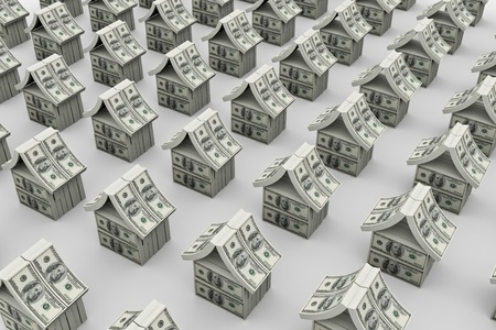 A lot of houses made from dollars. 3D image photo