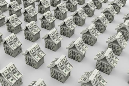 equidad: Muchas de las casas de d�lares. Imagen 3D Foto de archivo