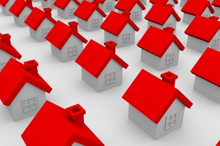 row houses: Alta risoluzione 3D rendering illustrazione di case Archivio Fotografico