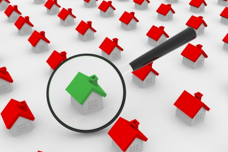 inspection: A lot of houses and magnifying glass. Stock Photo