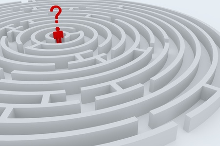 Man with question mark into the center of maze. photo
