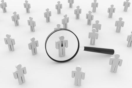 人、または従業員の検索。3D イメージをレンダリングします。概念。
