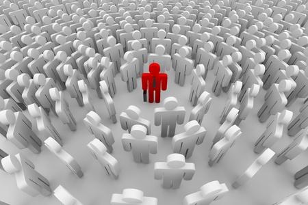 1 つの赤い男の周りに群衆。3 D イメージ。