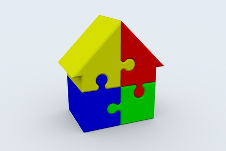 organised group: Jigsaw puzzle in the shape of a house