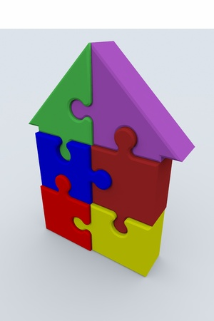 Jigsaw puzzle in the shape of a house photo