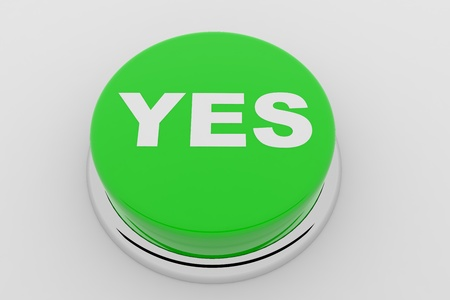 A green button with the word YES on it Stock Photo - 9257852