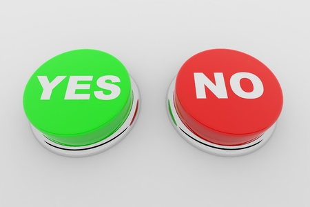 Green and red buttons with the words YES and NO on it Stock Photo - 9257858