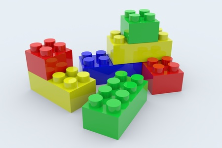 Color lego blocks toy isolated on white. 3D render image. photo
