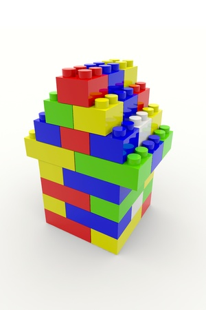color block: Color block house. 3D rendering image.