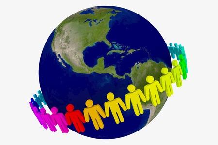 手を繋いでいる世界中の人々 写真素材