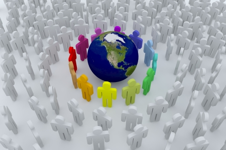 Group of colour people around the earth into the crowd photo