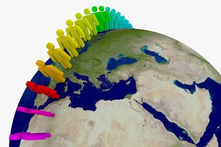People around the world. 3D rendering image. photo