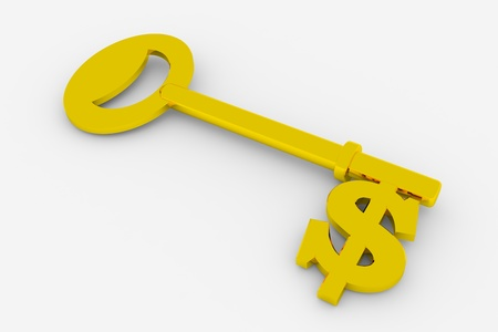 Gold key with dollar currency symbol. 3D render image. photo