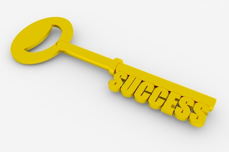 sucess: Gold key to success on white surface. Concept. 3D render image.