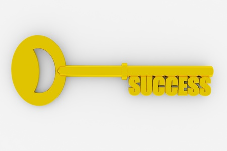 Gold key to success on white surface. Concept. 3D render image. photo